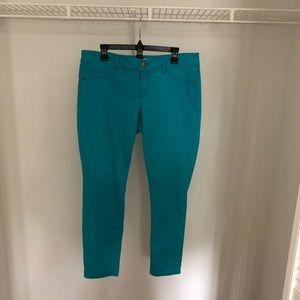 Teal Low-rise Skinny Pants